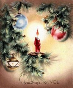 Christmas Candle Vintage Card