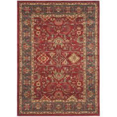 """Amazon.com: Safavieh Mahal Collection MAH697A Traditional Oriental Red and Natural Area Rug (5'1"""" x 7'7""""): Kitchen & Dining"""
