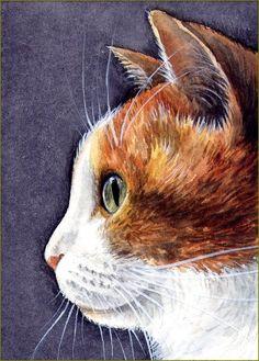 ACEO Original Miniature Watercolor Painting Cats by Elena Mezhibovsky Watercolor Cat, Watercolor Animals, Watercolor Paintings, Watercolors, Small Canvas Paintings, Mini Paintings, Image Halloween, Pikachu, Image Nature
