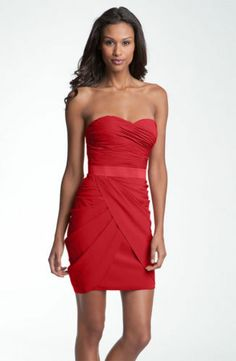 New Aidan Mattox Sweetheart Neckline Ruched Dress Size 2 Red $168 | eBay
