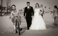 #photobomb #weddingphoto at #belmontshore.  Photo courtesy of Lifetime Images Wedding Photography ( LifetimeImages.com)  Copyright 2014