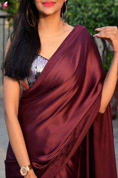 Buy Wine Satin Saree Online in India Saree Draping Styles, Drape Sarees, Saree Styles, Simple Sarees, Trendy Sarees, Stylish Sarees, Farewell Sarees, Saree Jackets, Satin Saree