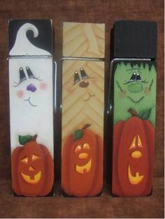 halloween tole painting | Clothespin Trio Decorative Painting Pattern by OilCreekOriginals