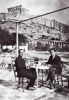 Greece Nikos Kazantzakis and Romanian writer Panait Istrati, under the Acropolis Greece Pictures, Old Pictures, Old Photos, Vintage Photos, Greece History, Modern History, Athens Greece, Ancient Greece, Crete