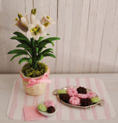 Miniature Easter Lily And A Platter Of Tea Cookies