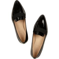J.Crew Patent-leather loafers ($230) ❤ liked on Polyvore featuring shoes, loafers, flats, buty, j.crew, j crew flats, loafers flats, patent leather flats, black patent flats and flat shoes