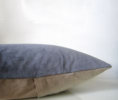 Gray.  Decorative velvet pillow in dark gray and natural by EarthLab. , via Etsy.