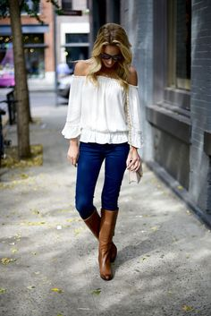 off shoulder over the shoulder denim top white pants outfit ootd ootn ideas fashion match styling style colours color woman women clothing clothes boots brown White Off The Shoulder Top Outfit, White Off Shoulder, Brown Boots Outfit, White Pants Outfit, Country Outfits, Casual Outfits, Cute Outfits, Big Fashion, Winter Fashion