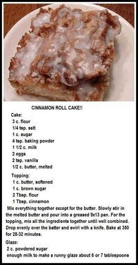 Cinnamon Roll Cake for dessert or brunch! 13 Desserts, Delicious Desserts, Yummy Food, Easy Homemade Desserts, Apple Dessert Recipes, Semi Homemade, Healthy Desserts, Healthy Recipes, Food Cakes