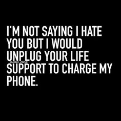 I'm not saying I hate you, But I would Unplug your life support to charge my phone...-RebelCircus