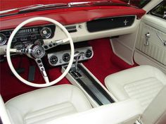1965 mustang convertible red white interior - Google Search