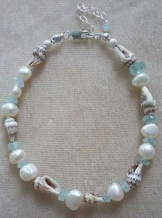 Freshwater pearl, shell, aquamarine and sterling silver bracelet. Visit www.myivyhouse.co.uk and click on the ebay link for further details