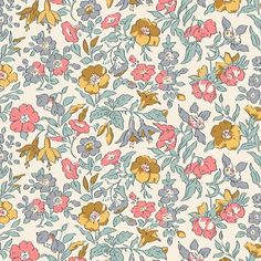 The English Garden Collection Liberty London Fabric Mamie Floral Cotton Colour Variations Available Fat Quarters, Half Metre, Metres - The English Garden Collection Liberty London Fabric Mamie Floral Cotton Colour Variations Ava - Liberty Of London Fabric, Liberty Fabric, Liberty Print, Fabric Factory, Classic Artwork, Fabric Online, Pink And Gold, Pink Yellow, Print Patterns
