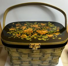 Box Purse, Hand Painted, Velvet Lined, Vintage Basket, Signed by Artist Ann Berg - Peterborough, NH Basket Company by SunsetMountainShop on Etsy