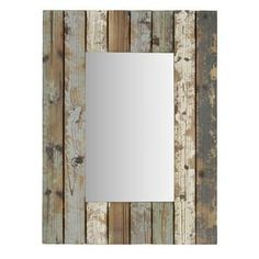 Enhance the look of your foyer, bedroom or other living space with the Torres Farmhouse Wall Mirror. Crafted from solid fir wood, each slat is painted and sanded down for a rustic look. Farmhouse Wall Mirrors, Wall Mirrors Entryway, White Wall Mirrors, Silver Wall Mirror, Rustic Wall Mirrors, Round Wall Mirror, Mirror Bathroom, Mirror Set, Mirror Ideas