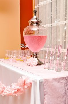 Pink Baby Elephant Shower - borrow Cindy's drink dispenser