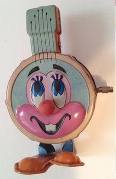 Vintage Marx wind up tin toy anthropomorphic banjo.