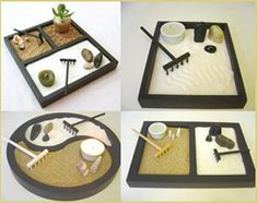 Super mini zen garden - Zen Garten - How can you design a mini garden? Miniature Zen Garden, Mini Zen Garden, Feng Shui, Mini Jardin Zen, Deco Zen, Zen Meditation, Cactus Y Suculentas, Crafty, Flora