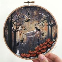 halloween themed embroidery & painting