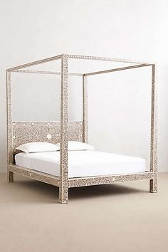 Anthropologie - Bone Inlay Four-Poster Bed