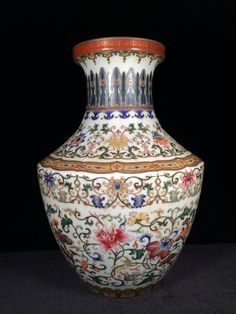 Antique Chinese famille rose large porcelain vase. Height: 15 1/4""