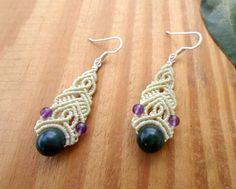 Moss agate macrame earrings boho jewelry beaded by SelinofosArt