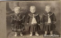 Cute Triplets - Naturally Born Meet the very cute Langhorst triplets - Mary, Frank Joseph. I wonder the odds of having triplets before artificial insemination fertility drugs [ Details: Frank Joseph Mary Langhorst ] Vintage Children Photos, Vintage Twins, Children Images, Vintage Pictures, Old Pictures, Vintage Images, Old Photos, Belle Epoque, Victorian Photos