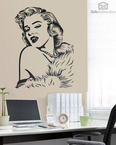 Vinilo decorativo, inspirado en la actriz Marilyn Monroe, ideal para decorar dormitorios, salones, despachos, bares, filmotecas...