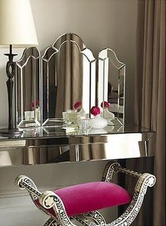 Art deco mirrored dressing table love the color of the vanity chair! Mirrored Vanity Table, Mirrored Furniture, Art Deco Furniture, Vanity Tables, Vanity Area, Mirror Vanity, Vanity Stool, Mirrored Dresser, Pink Vanity