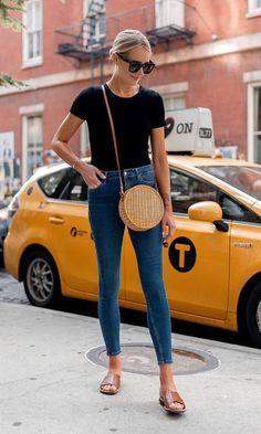 Blonde Woman Wearing Bloomingdales Black Short Sleeve Bodysuit Denim Skinny Jeans Tan Flat Sandals Circle Straw Handbag Black Sunglasses Fashion Jacks… - New Site Fashion Blogger Style, Fashion Mode, New York Fashion, Look Fashion, Skinny Fashion, Street Style Fashion, Feminine Fashion, Fashion Trends, Lifestyle Fashion