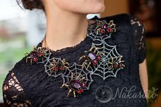 Happy Halloween! Spider necklace by Designer Kara Marie Contest entry for Create Your Style Halloween Contest