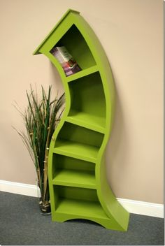 This looks like it would come out of Dr Seuss.  Very cool! 7 Topsy Turvy Bookscases