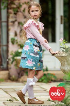 January Skirt Teal Swan | Girls Party Dress | Oobi Girls Kid Fashion