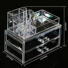 Clear Acrylic Makeup Cosmetics Organizer Drawers Display Box Storage Tabletop