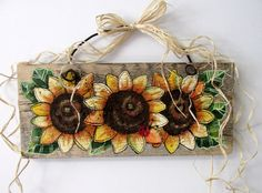 Sunflowers Yellow, Tole Painted on Reclaimed Barn Wood, Summer Time Flowers, Reclaimed Wood, Three Yellow Sunflowers and Red Lady Bug
