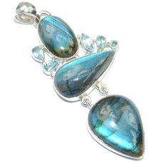 $89.55 Giant+AAA+Blue+Fire+Labradorite+Sterling+Silver+handmade+Pendant at www.SilverRushStyle.com #pendant #handmade #jewelry #silver #labradorite