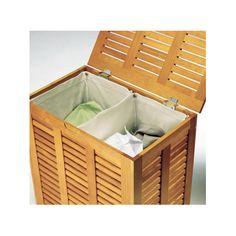Casto coffre linge 2 bacs tial encadrement en pin antique 2 sacs int rieurs dimensions - Panier a linge castorama ...