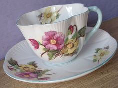 Antique 1930's Shelley begonia tea cup and saucer por ShoponSherman