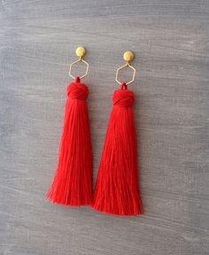Tassel Earrings - Red Tassel Earrings - Tassle Earrings - Long Tassel Earrings - Red Earrings - Wedding Earrings - Boho Earrings, Tassel by SeaSaltShop on Etsy https://www.etsy.com/listing/520511724/tassel-earrings-red-tassel-earrings
