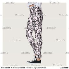 Shop Blush Pink & Black Damask Floral Swirls Leggings created by LeonOziel. Leggings Fashion, Women's Leggings, Look Cool, Body Types, Dressmaking, Swirls, Damask, Blush Pink, Hand Sewing