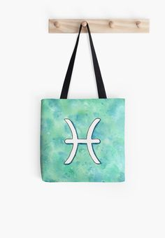 """""""Zodiac sign : Pisces"""" Tote Bag by Savousepate on Redbubble #totebag #bag #astrology #astrologicalsign #zodiacsign #aquarius #blue #turquoise #aqua #mint #white #watercolorpainting"""