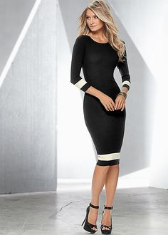 Venus color block sweater dress with Venus peep toe ankle strap heel.