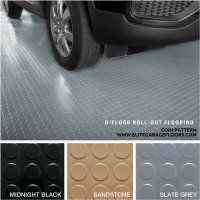 G Floor Roll Out vinyl Flooring, Coin Pattern. Comes in Black, Sandstone or Grey. Made in USA, lifetime manufacturer warranty. Garage Floor Mats, G Floor, Vinyl Floor Covering, Floor Patterns, Vinyl Flooring, Usa, Grey, Black, Garage Mats