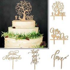 Rustic Wooden Love Mr&Mrs Cake Topper Romantic Wedding Engagement Anniversary