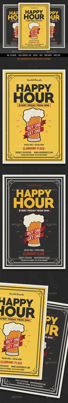 Happy Hour Flyer Template PSD. Download here: http://graphicriver.net/item/happy-hour-flyer/16656153?ref=ksioks