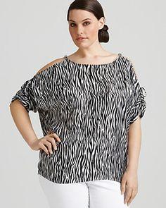 MICHAEL Michael Kors Plus Size Zebra-Print Chain Link Top $79.60
