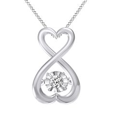 "PLATINUM PLATED ROUND VVS1 DIAMOND DANCING INFINITY HEART PENDANT W/18""CHAIN #AffinityHomeShopping #Pendant"