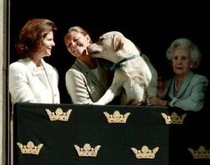 Sweden's Crown Princess Victoria with her mother Queen Silvia and a sweet dog
