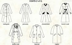 Types of coats. Costume Halloween, Modele Hijab, Types Of Coats, Flat Sketches, Fashion Terms, Modelista, Fashion Vocabulary, Types Of Skirts, Fashion Project