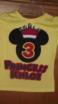 Minnie Mickey Mouse Princess Crown - Disney Birthday Party Family Custom T-Shirt Personalized Applique Tee Shirt Top Family. $18.00, via Etsy.